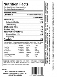 Nutritional Facts for Oatmeal Raisin Cookie Dough